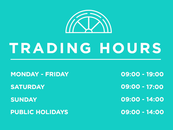 Trading hours for shops at Haasendal Gables Mall